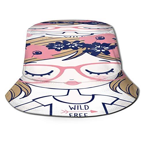 Yoliveya Sombrero de Pesca,Gafas Corona Floral Linda Chica Hipster,Senderismo para Hombres y Mujeres al Aire Libre Sombrero de Cubo Sombrero para el Sol