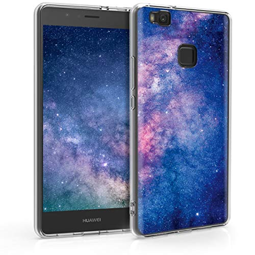 kwmobile Cover Compatibile con Huawei P9 Lite - Back Case Custodia in Silicone TPU Cover Trasparente Galassia Rosa/Fucsia/Blu Scuro