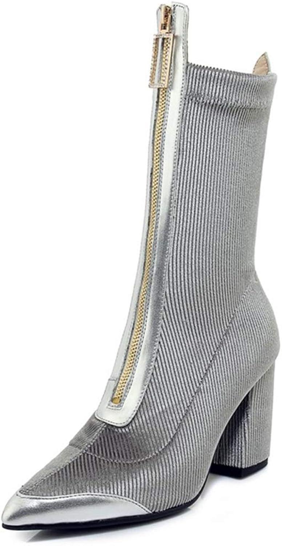 AVENBER Women Mid Calf Boots Corduroy Pointed Toe Super High Square Heel Zipper Outside Fashion Adult Short Plush shoes