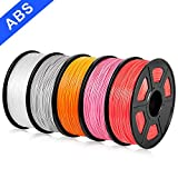 SUNLU ABS Filament 1.75mm 3D Printer 3D Pens 5x1KG PLA+ Filament +/- 0.02 mm, Grey+Transparent+Orange+Red+Purple