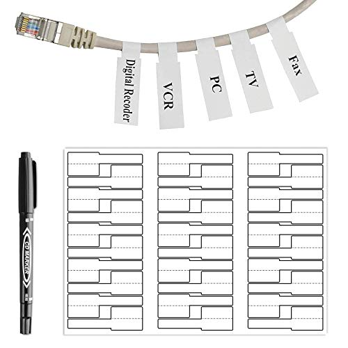 OPQH 210 White Cable Labels with Mark Pen, Cord Labels Can Write On, Self Adhesive Wire Labels Printable A4 Sheet for Laser Printer and Handwriting Cable Organize