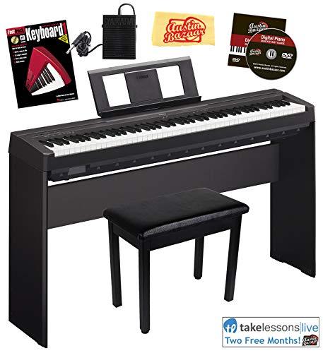 Yamaha P-45 Digital Piano - Black Bundle with Yamaha L-85 Stand,...