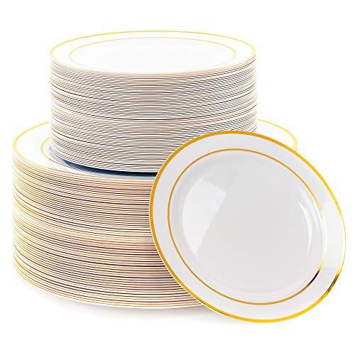 Matana 120 Platos de Plástico Duro Blanco con Borde Dorado - 2 Tamaños