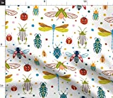 Spoonflower Fabric - Colourful Insects Dots Nature Fantasy Bugs Dragonflies Printed on Fleece Fabric by The Yard - Sewing Blankets Loungewear and No-Sew Projects