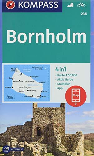 KOMPASS Wanderkarte Bornholm: 4in1 Wanderkarte 1:50000 mit Aktiv Guide und Stadtplan inklusive Karte zur offline Verwendung in der KOMPASS-App. Fahrradfahren. (KOMPASS-Wanderkarten, Band 236)
