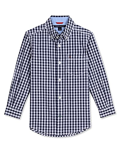 Tommy Hilfiger Boys 2-7 Baxter Gingham Shirt, Navy, 06 Regular