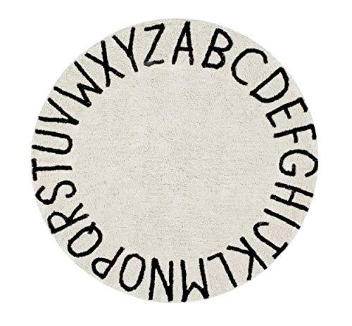 Lorena Canals ABC Tapis Lavable Rond en Coton 150 x 150 x 30 cm Noir