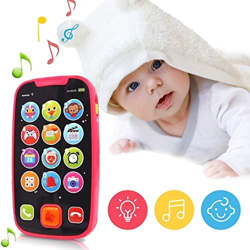 LUKAT Baby Telefon Spielzeug für ab 6 9 12 18 MonateKleinkinder, Musikspielzeug Smartphone lernspielzeug ab 1 2 Jahren Englisch Touch Phone mit Sound und Musik, Zahlen, blinkenden Lichtern mehr heran
