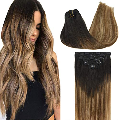 GOO GOO Remy Hair Extensions Clip in Human Hair Extensions Ombre Dark Brown Fading to Chestnut Brown and Dirty Blonde Ombre Clip in Extensions Balayage Hair Extensions 7pcs 120g 24 inch