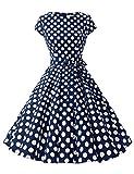 Dressystar DS1956 Robe à 'Audrey Hepburn' Classique Vintage 50's 60's Style à Mancheron Marine à Pois Blanc B M