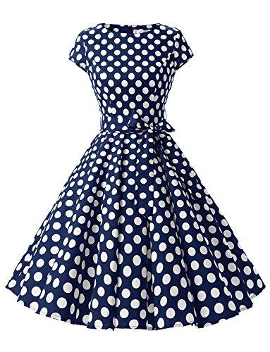 Dressystar Damen Vintage 51er Cap Sleeves Dot Einfarbig Rockabilly Swing Kleider Marinrblau Weiß Dot B XL