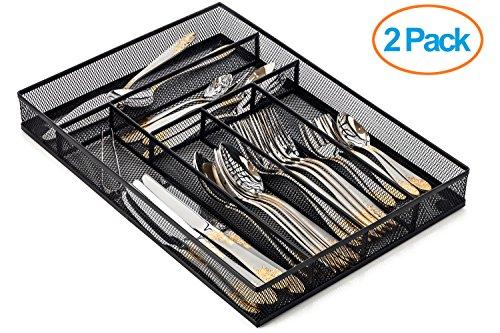 Halter - Organizador malla de acero para cajón de cubiertos con patas de espuma antideslizante, 40,6 x 28,6 x 5 cm, paquete de 2 unidades