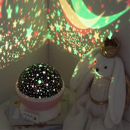 Silmenen - Luz nocturna giratoria con pilas, color rosa y rosa