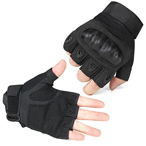 Ventilate Wear-resistant Tactical Gloves Hard Knuckle and Foam Protection for Shooting Airsoft Hunting Cycling Motorcycle Gloves Men's Outdoor Half finger Full finger Gloves Black M/L/XL
