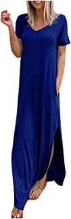 Women Solid V-Neck Short Sleeves Long Dress, Ladies Casaul Pockets Maxi Dress Party Dresses