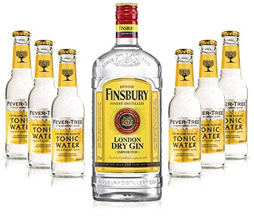 Gin Tonic Set - Finsbury London Dry Gin 0,7l 700ml (37,5{911bb457604878eeca79a7214f5422d590718b6573d4cf283ed803235eca49d6} Vol) + 6x Fever Tree Tonic Water 200ml - Inkl. Pfand MEHRWEG