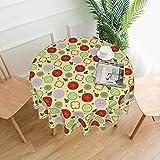 Mantel redondo de tomate de verduras multicolor a prueba de derrames a prueba de agua para interior al aire libre cubierta de mesa de 60 pulgadas