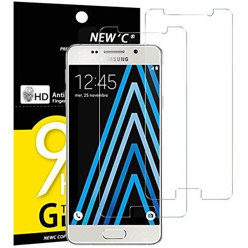 NEW'C 2 Stück, PanzerglasFolie Schutzfolie für Samsung Galaxy A3 2016, Frei von Kratzern Fingabdrücken und Öl, 9H Härte, HD Displayschutzfolie, 0.33mm Ultra-klar, Ultrabeständig
