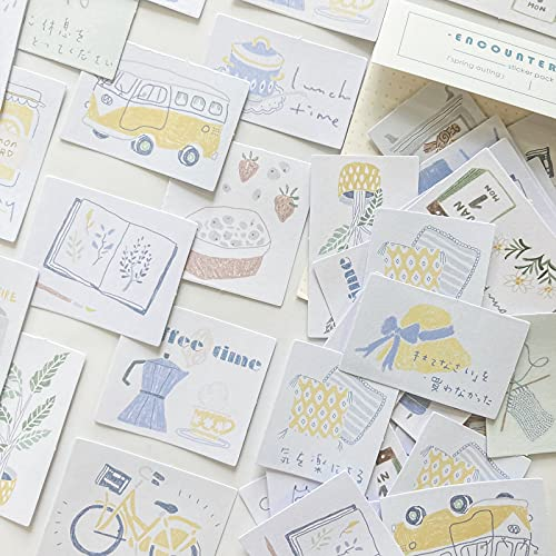 TNYKER シール フレークシール 手帳ステッカー 手描き イラスト 韓国風 スケジュール 手帳 ノート 手紙 カレンダー シンプル おしゃれ かわいい 60枚セット 小春日和