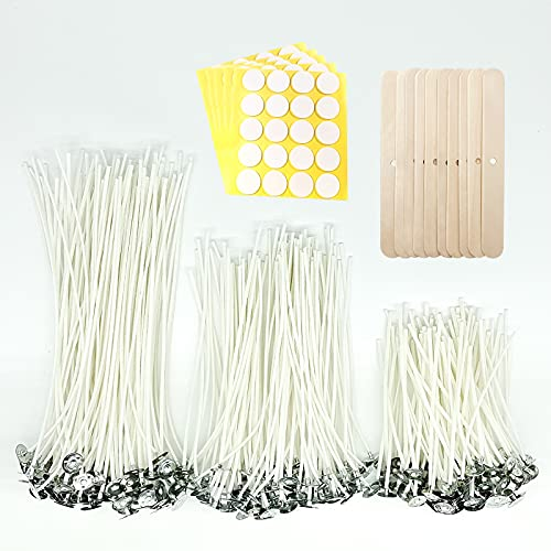 Chram-Moi 410pcs Candle-Wicks Cotton Wick - 8 inch 6 inch 4 inch Candle Wick with Candle Wick Stickers Candle Wick Holders, Super Value for Candle Making Kit (Whatea)