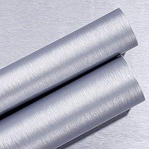 Magicvalley Película de Acero Inoxidable de Metal Cepillado de Vinilo Autoadhesivo para refrigerador, lavavajillas, Estufa, Puertas de Horno, electrodomésticos, Muebles (Plata, 40CMX3M)