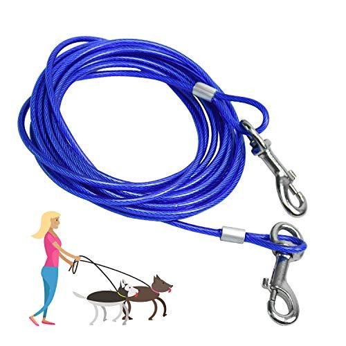 SANTOO 5M Cable para Atar Perros, Cuerda de Seguridad Cabezas Dobles para Mascotas hasta 45 kg