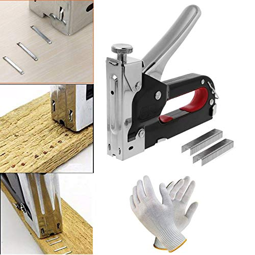 Digital Craft Heavy Metal Stapler Gun for Wood, Plastic and Masonry Cordless Nailer with Hand Gloves