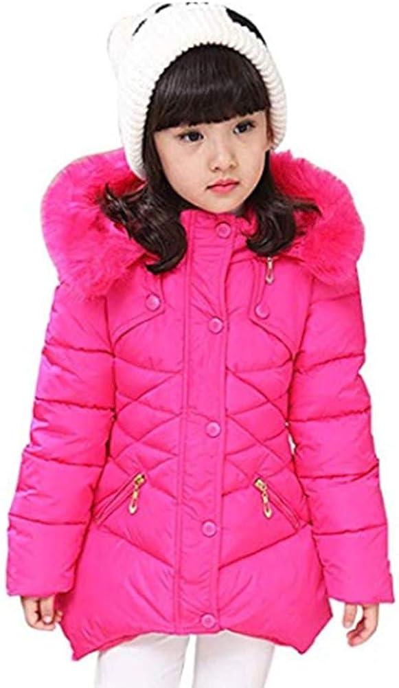 Digirlsor Kids Girls Winter Warm Outerwear Down Jackets Coats Hooded Windbreaker Parka, 3-12 Years