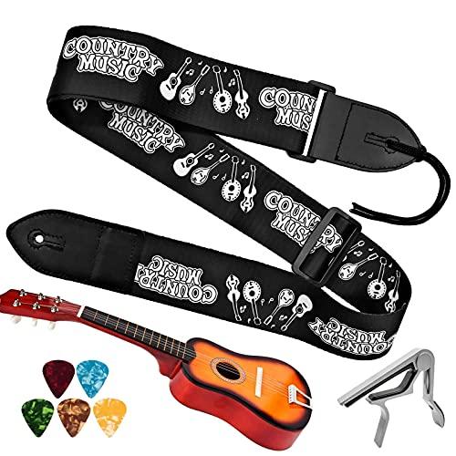 INHEMING Correa de la Guitarra y Bajo,Ajustable Correas para Guitarras de Polyester,con Extremos de Cuero,para Guitarra Acústica/Eléctrica/Bajo/Ukelele, Incluye 5 Púas y Capo