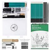 Lemecima Kit Matite da Disegno Completo, Set di Matite Professionali con Sketchbook 100 Pagine e Accessori di Schizzo e Disegno, Set Matite Schizzo per Principianti, Studenti, Artista(33 Pezzi)
