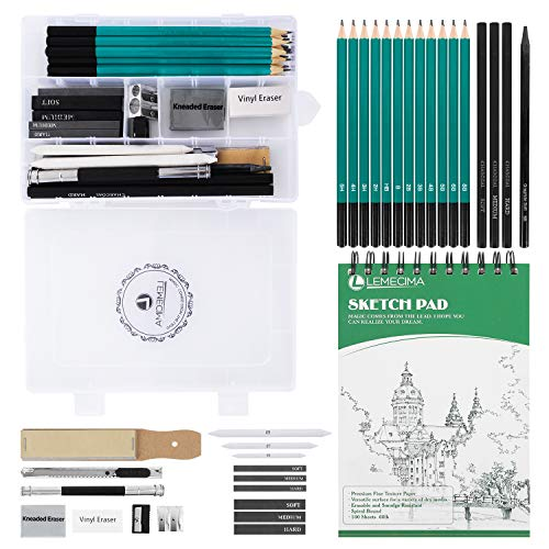 Sketch & Drawing Art Tool Kit,33 PCs Sketch Pencil Set Drawing Kit Art Supplies with Graphite Charcoal Sticks Tool Sketch Kit for Adults Kids Artists Drawing Sketching with 100 Pages Sketch Book
