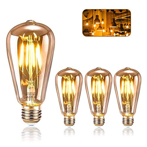 Edison Glühbirne E27, KIPIDA Retro Glühbirne 4W LED Vintage Beleuchtung ST64 Ideal für Retro Beleuchtung im Haus Café Bar Musikzimmer Restaurant Hochzeit Innenbereich Deko usw, Amber Warm (3 PCS)