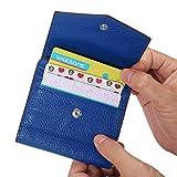 AINIMOER Leather Small Card Holder Women's RFID Blocking Zipper Wallets, Ladies Mini Bifold Pocket Purse, Blue