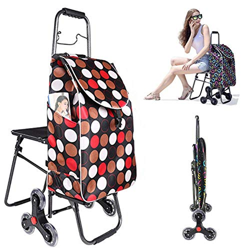 BCX Shopping Trolley Bags Foldable with Seat and 6 Wheels,Large Capacity Stair Climbing Cart Shopping Boot Cart with Lid,Lightweight,Strong Waterproof Cover for Women Men Disabled Old Lady,E,F