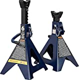 TCE AT46002AU Torin Steel Jack Stands: Double Locking, 6 Ton (12,000 lb) Capacity, Blue, 1 Pair