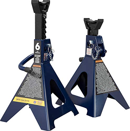 TCE 6 Ton (12,000 LBs) Capacity Double Locking Steel Jack Stands, 2 Pack, Blue, AT46002AU