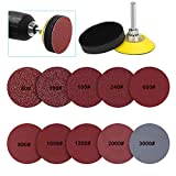 2 Inch 200 pcs Sanding Discs Pad Kit for Drill Grinder Rotary Tools, Hook and Loop Sandpaper Discs with 1/4 Inch Backer Plate Shank and Soft Foam Buffering Pad (80-3000 Grit)