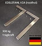 2er Set V2A Wandhalterung 30 cm Waschtischplatte Regalträger Konsolenträger Konsolenhalterung Wandkonsole Edelstahl gebürstet rostfrei 300 kg Traglast