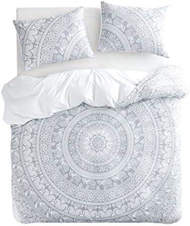 Wake In Cloud Bohemian Duvet Cover Set Gray Grey Boho Chic Mandala Indian Medallion Floral Printed product image