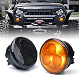 Xprite Amber LED Turn Signal Light Assembly with Smoke Lens for 2007-2018 Jeep Wrangler JK...