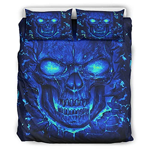 STELULI Juego de colcha de microfibra azul cráneo ligero – 1 funda de edredón y 1 funda de almohada para dormitorio de niñas, blanco 66 x 90 pulgadas