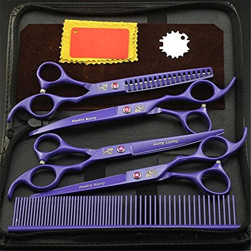 AUGYM 7.0 Pulgadas Professional Pears Scissoring Scissors Sistemas, Perros/Gatos Kit de Herramientas Tijeras, Tijeras de Corte de Micro serrado para Cara de Animal, Afilado,B