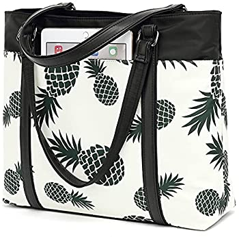 Laptop Tote Bag Womens Work Bags Purse Floral Teacher Handbag Shoulder Bag fit 15.6 in laptop  Beige - Pineapple
