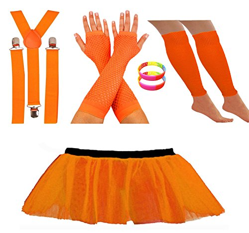Neon Orange (other colours available) Tutu Skirt Leg Warmers Fishnet Gloves Suspender Braces and Neon Wristbands  - Sizes 16 to 22