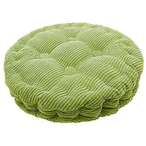 TFlower - Cojín de silla redondo acolchado para silla, alivio para casa, oficina, jardín, 40 cm, color verde