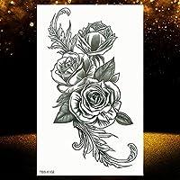 女性のための7個のロータス一時的な入れ墨偽の宝石の鎖黒い花のボディーアート抽象的な入れ墨ステッカー転送女の子の入れ墨 OTBS8102