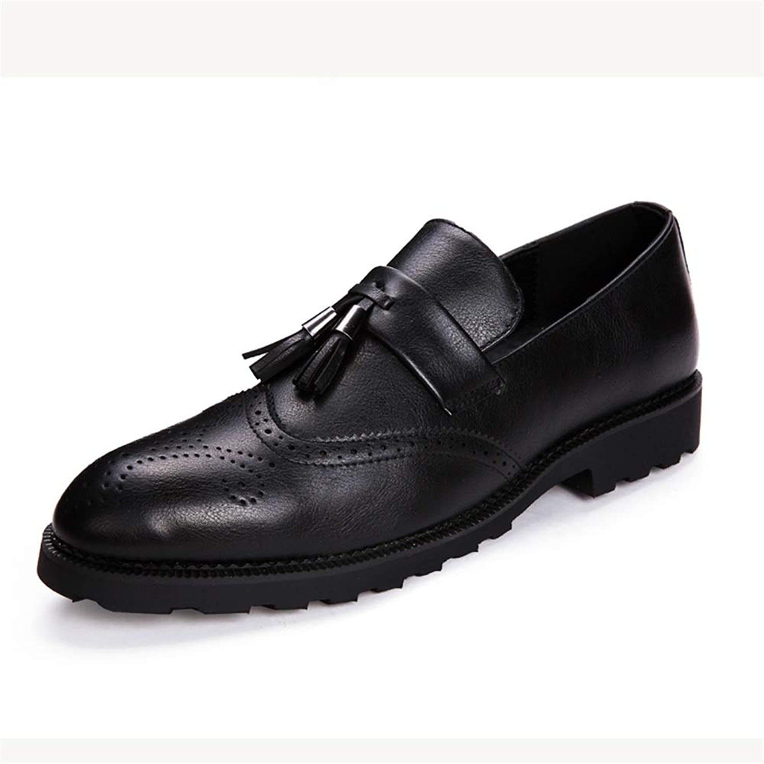 Fashion Men's Fashion Oxford Casual Comfortable Low Top Classic Fringed Carving Brogue shoes Men's Boots (color   Black, Size   7.5 UK)