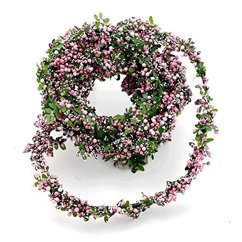 TGG Buchs- Beeren Girlande (Draht), 2,7 Meter Kordel, Hochzeit, Kommunion !!! (grün/rosa)