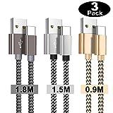 Câble USB Type c,Chargeur USB c[3 Pack/0.9m+1.5m+1.8m] Câble USB C Charge Rapide en Nylon Tressé pour Samsung s8/s9/s10/A7/A5/A3 2017,Note 10/9/8,Huawei P20lite/P30/P20/P10/P9,Honor,OnePlus