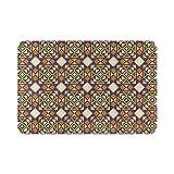 Alfombra de baño para el hogar, geométrica, marrón, morada, abstracta, nórdico, otoño, bohemio, alfombra de ducha de 39,8 x 59,6 cm